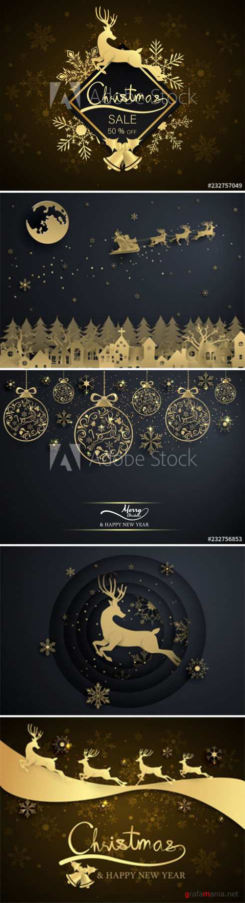 Gold snowflake and decoration christmas ball on black background, merry christmas, happy new year
