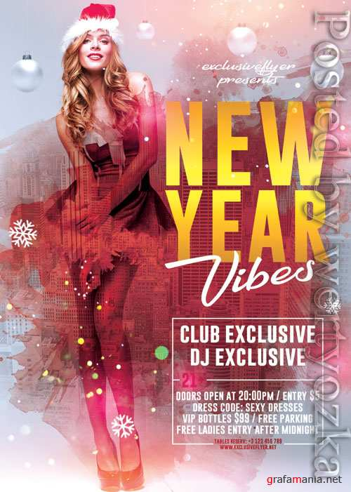 New year vibes - Premium flyer psd template