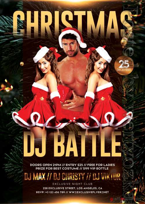 Christmas dj battle - Premium flyer psd template