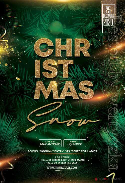Main Files Christmas Snow Party - Premium flyer psd template