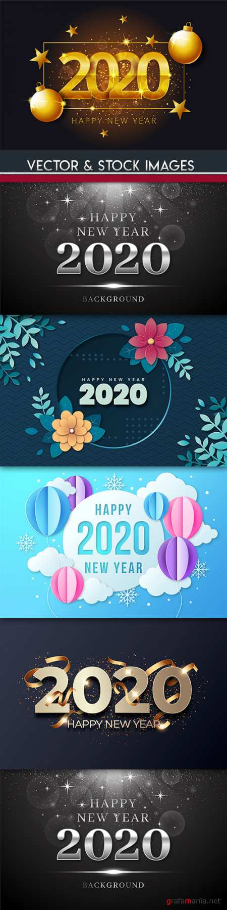 New Year and Christmas decorative 2020 illustration 10