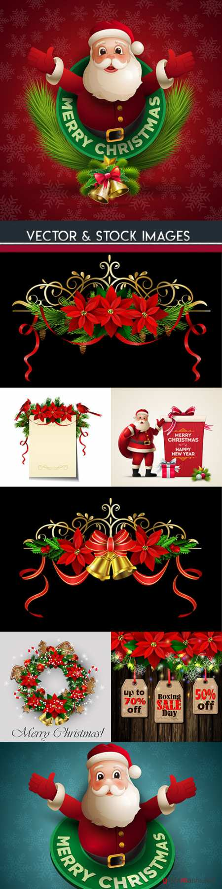 Santa funny Christmas flowers and decorative elements
