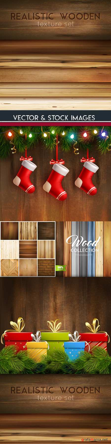 Wooden decorative texture and New Year elements