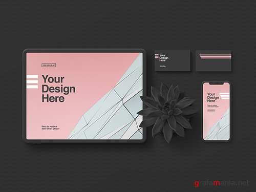 Stationery and Tablet Mockup in Minimalist Black 300445898 PSDT