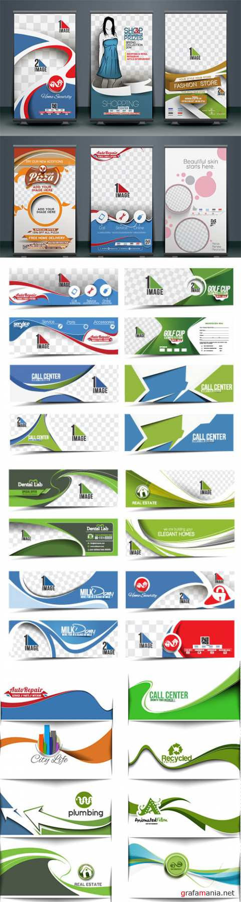 Modern horizontal banner and header template