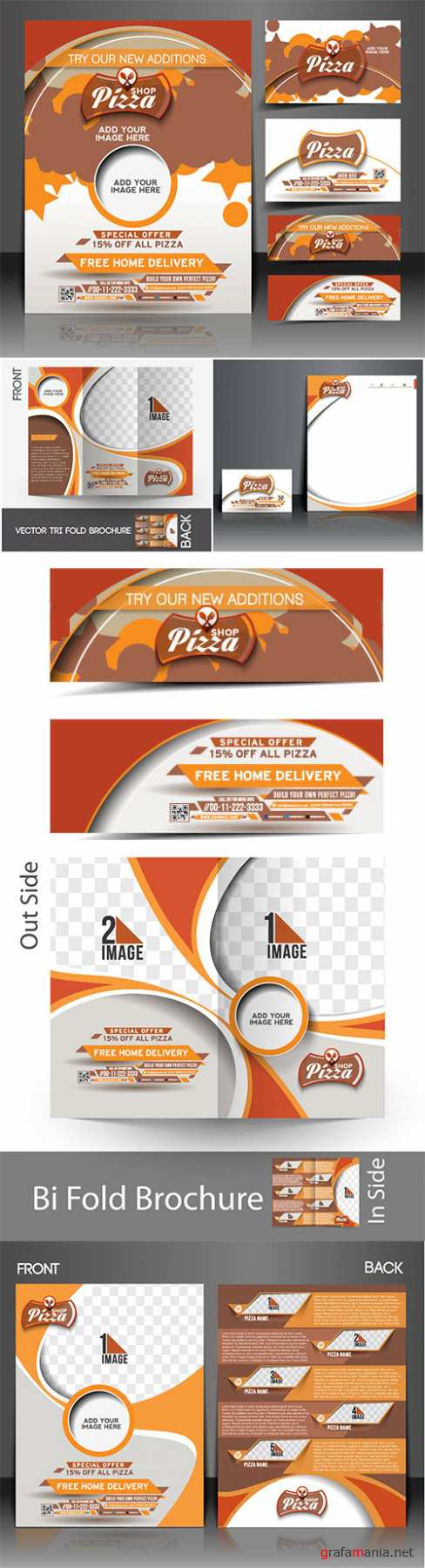 Pizza shop flyer, business vector card