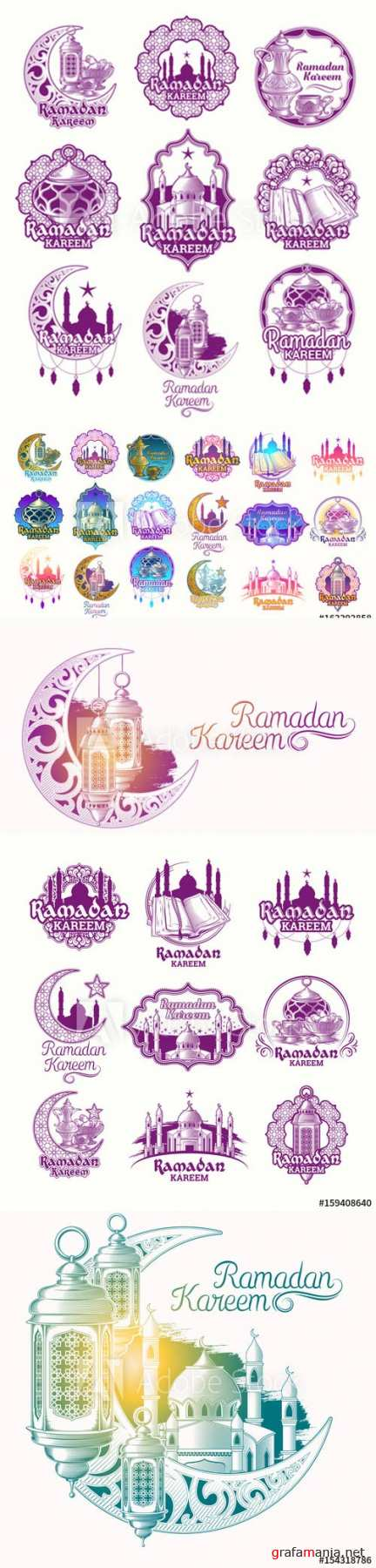 Set vector color illustrations, badges, emblems for Ramadan Kareem