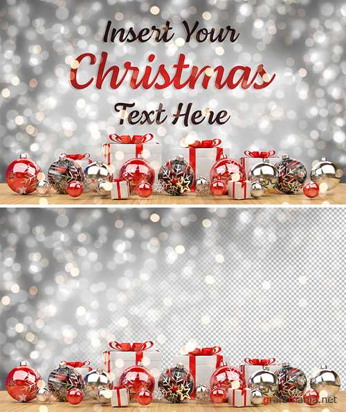Christmas Card Mockup with Ornaments 305996055 PSDT