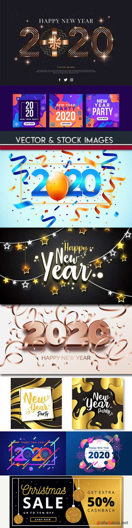 New Year and Christmas decorative 2020 illustration 14