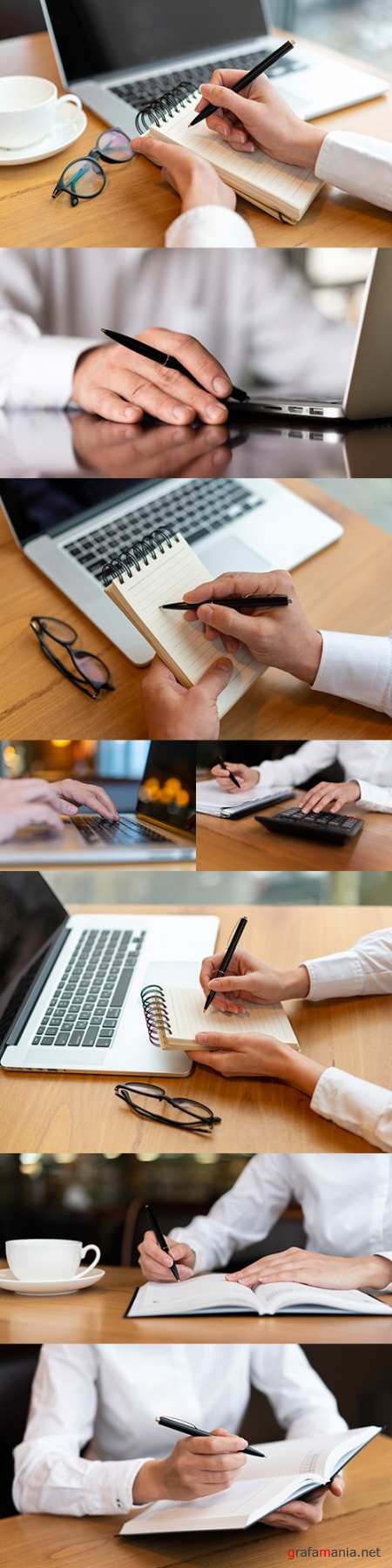 Business desktop, hands with notebook and keyboard