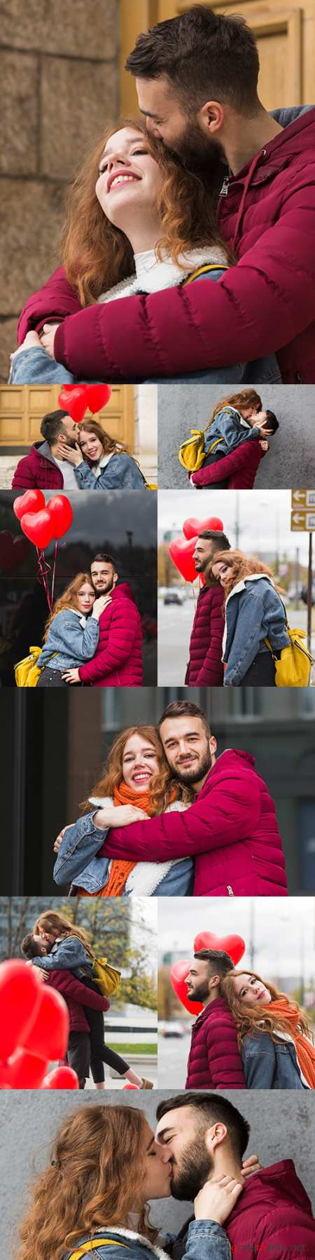 Falling in love and romantic couple on balloon walk