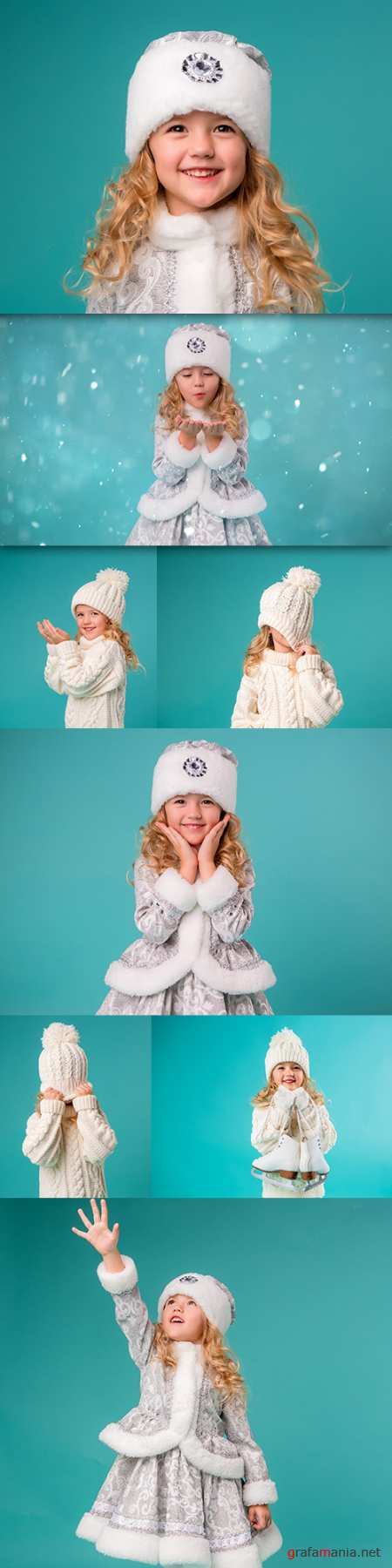 Little girl in snow maiden suit and knitted hat