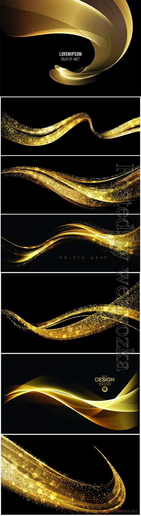 Abstract golden waves on vector backgrounds