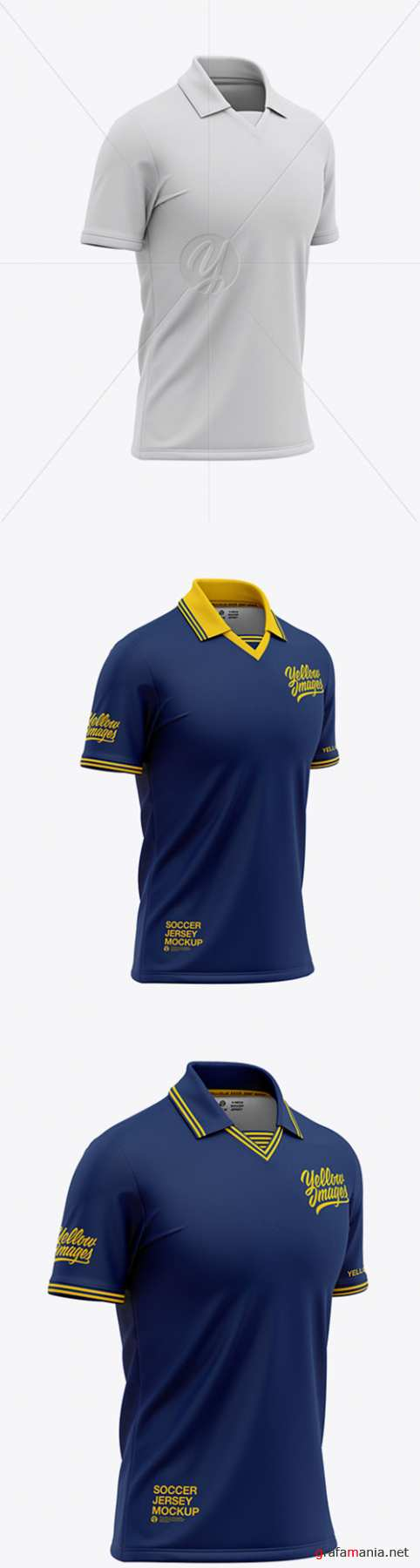 Mens Soccer /Cricket Jersey Mockup - Front Half Side View 47630