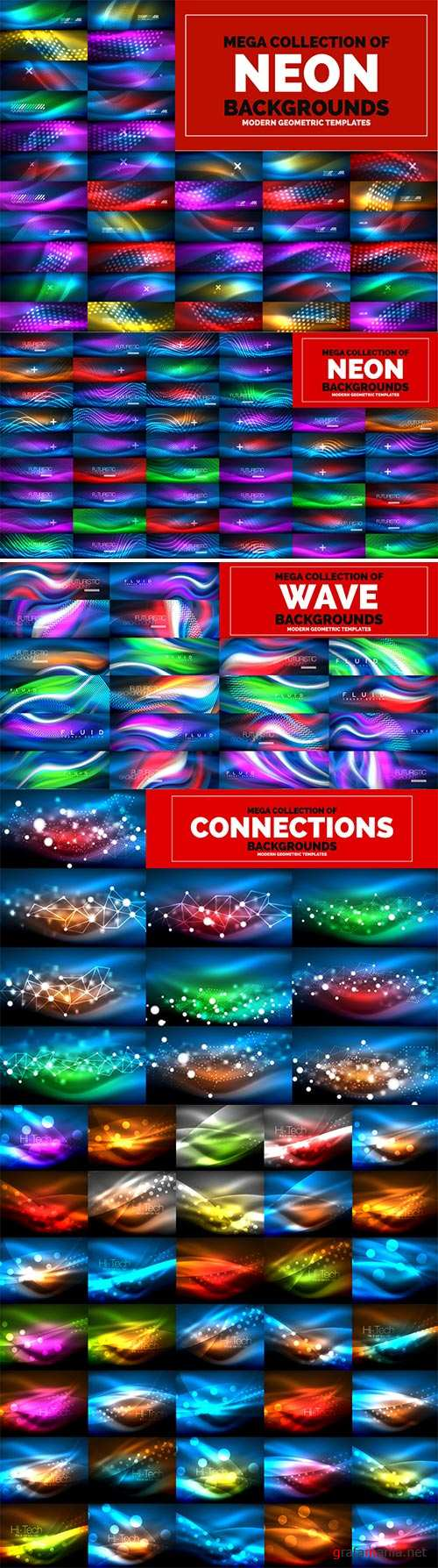 Mega collection of neon glowing waves # 9