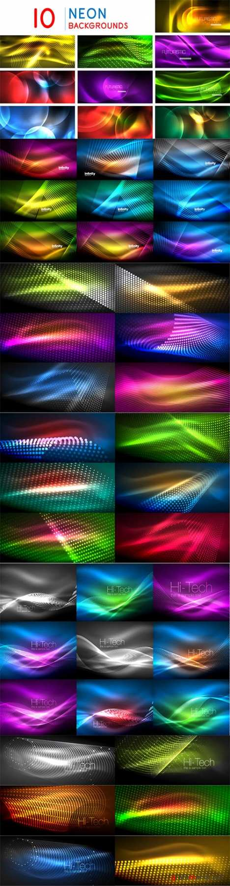 Mega collection of neon glowing waves # 8