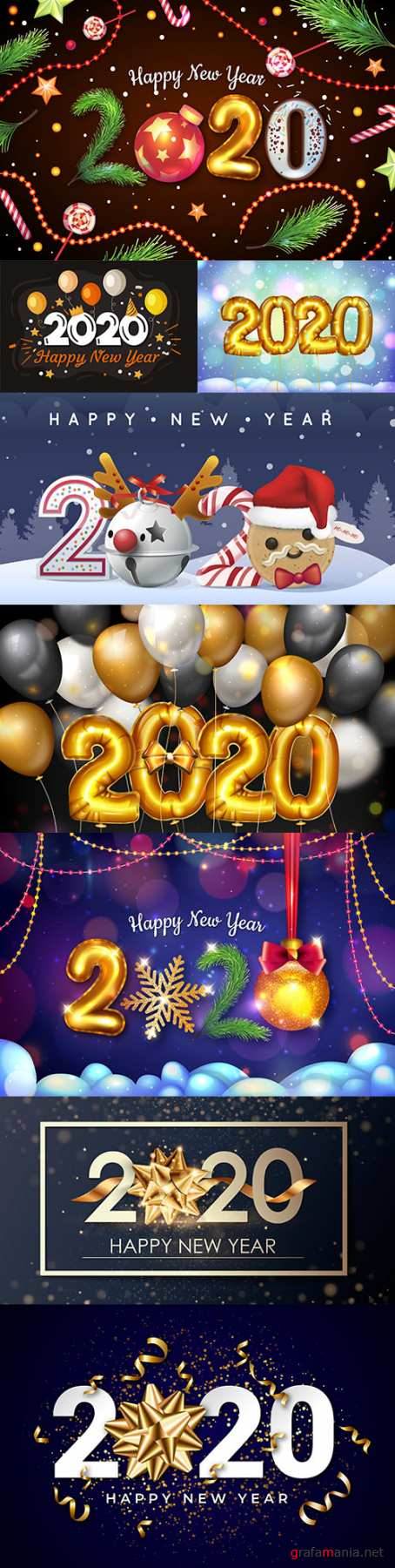 New Year and Christmas decorative 2020 illustration 18