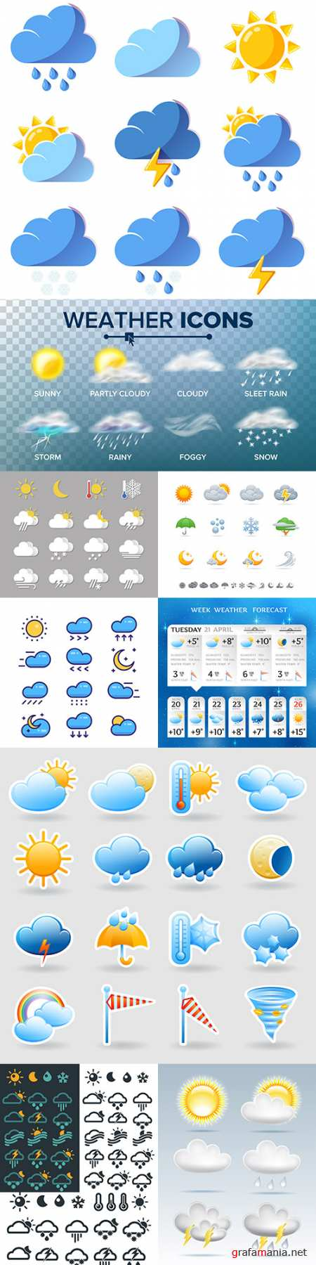 Weather forecast collection meteorological icons