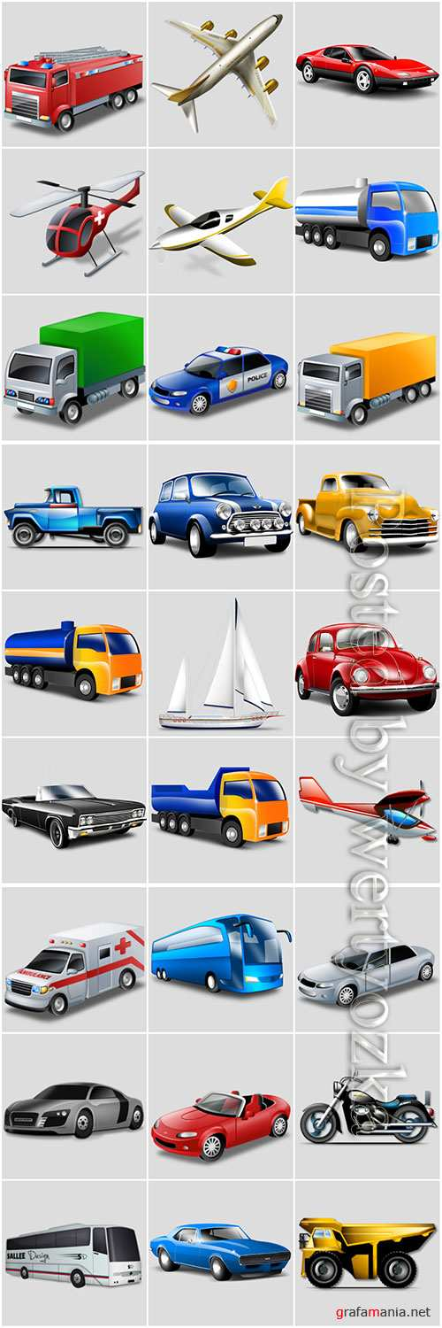 Icons of various vehicles in png