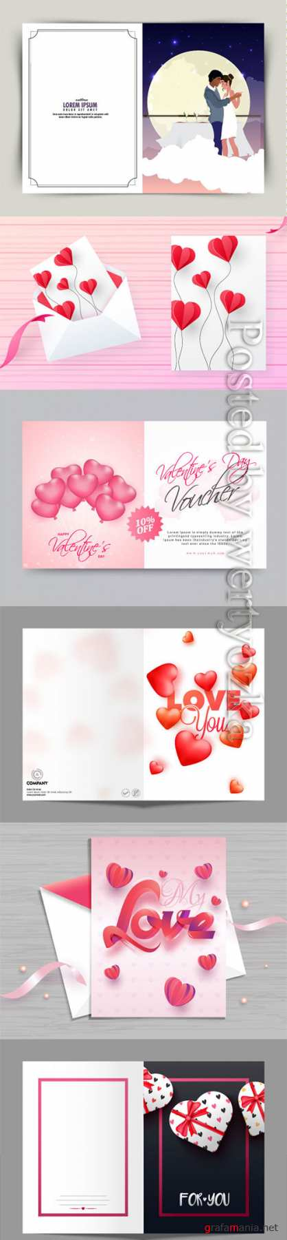 Happy Valentine's Day, vector hearts of couples in love # 15