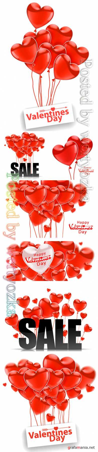 Happy Valentines Day, red flying realistic glossy balloons on a white background
