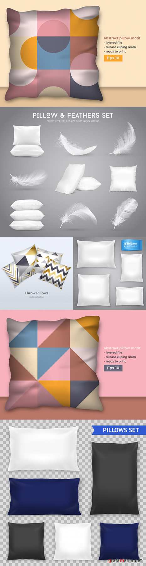 Pillow and feathers realistic templates decorative pattern