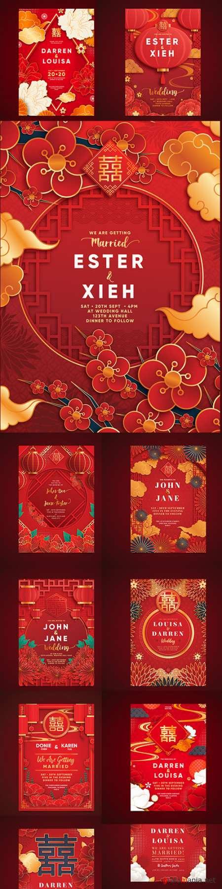 Chinese style wedding invitations realistic design