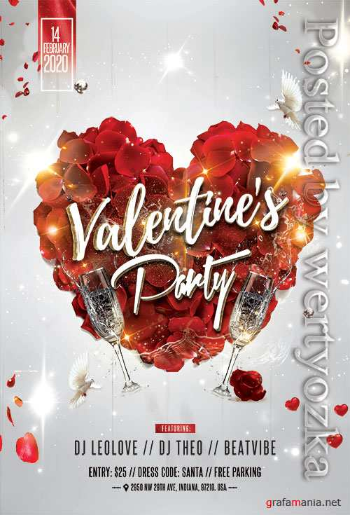 Love Affair Valentines Party  - Premium flyer psd template