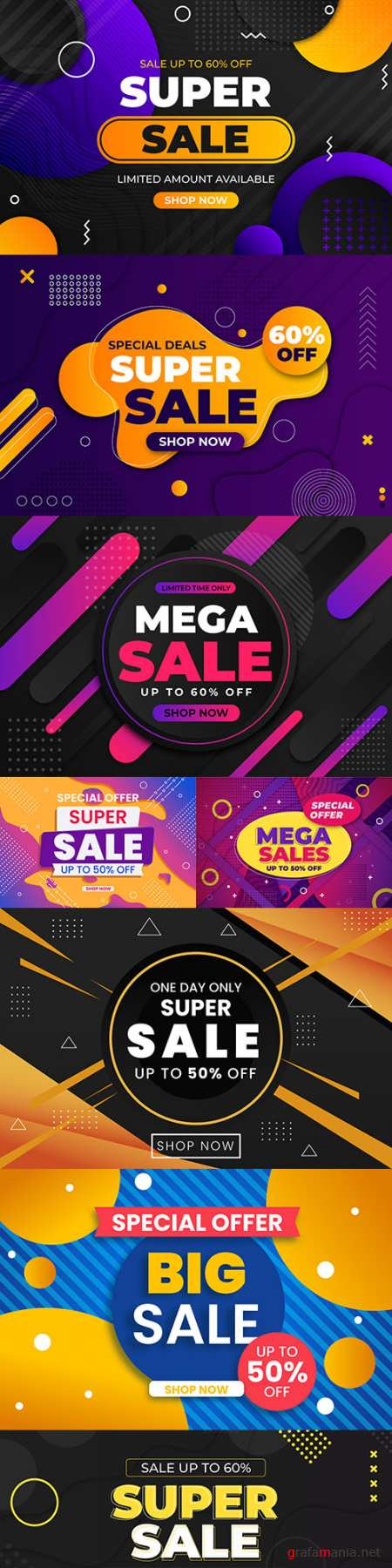 Mega sales and super discounts flat abstract collection 5
