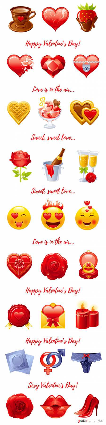 Happy Valentine's Day cartoon banner elements