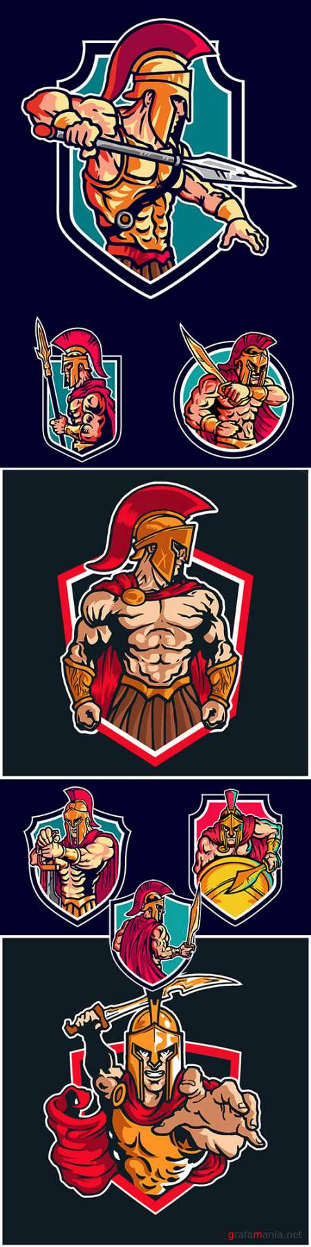Spartan warrior vector logo mascot design