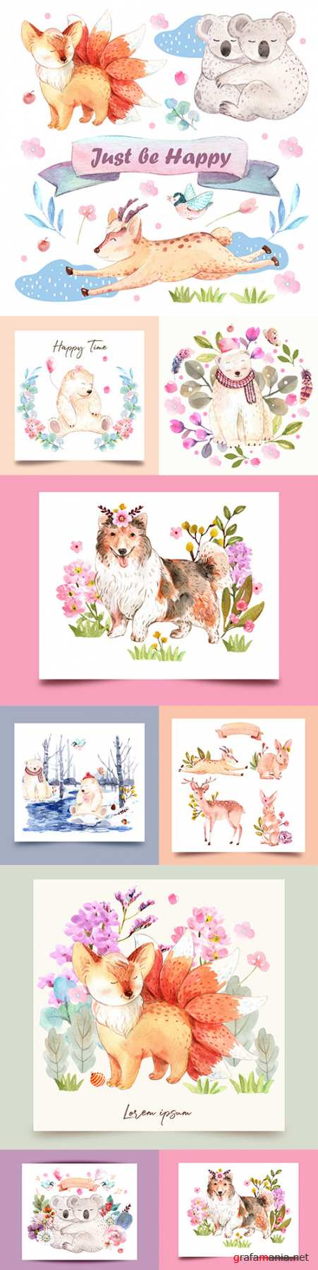 Watercolor funny animals with flowers vector design
