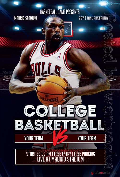 College Basketball - Premium flyer psd template