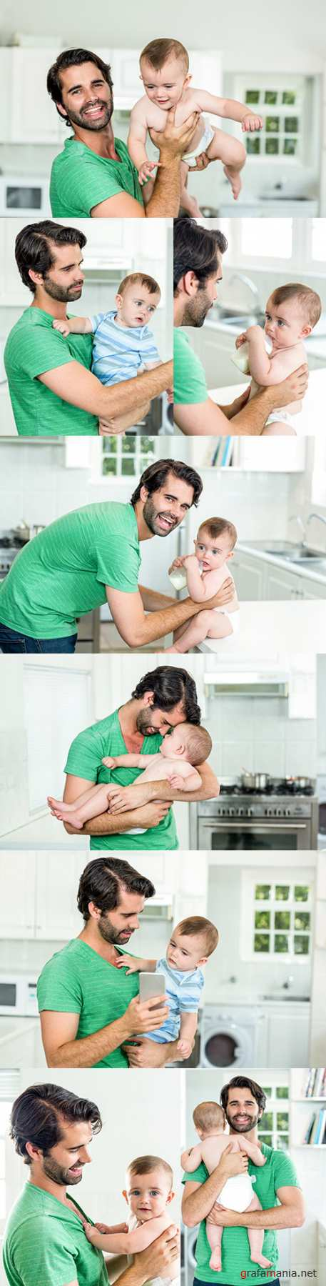 Happy young father with son in kitchen at home