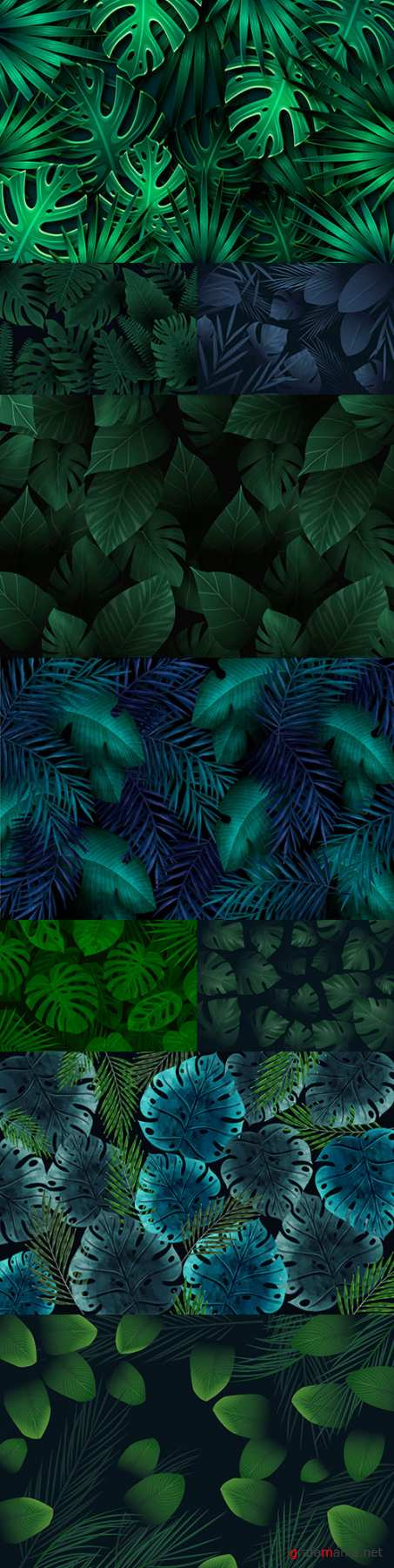 Tropical green leaves decorative background