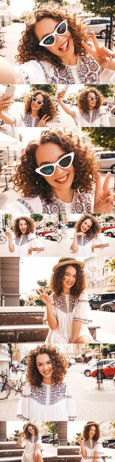 Smiling girl with hairstyle afro curls in dress