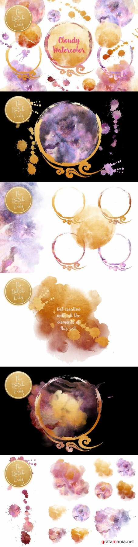 Cloudy Watercolor Ink Clipart Set - 4468059
