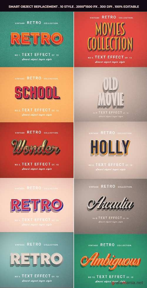 Retro Vintage Text Effects For Photoshop V1 - 25508009