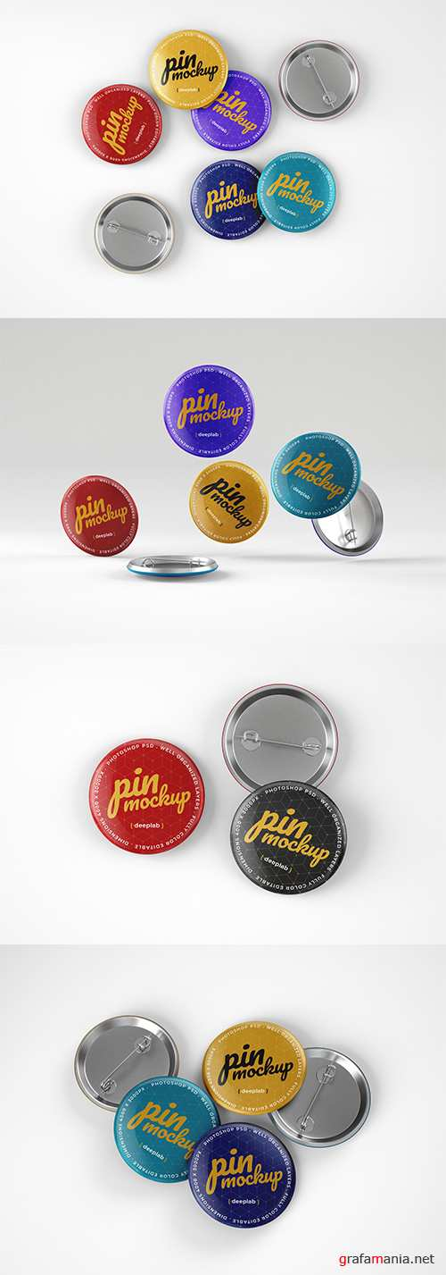 Glossy Button Pins Mockup Pack