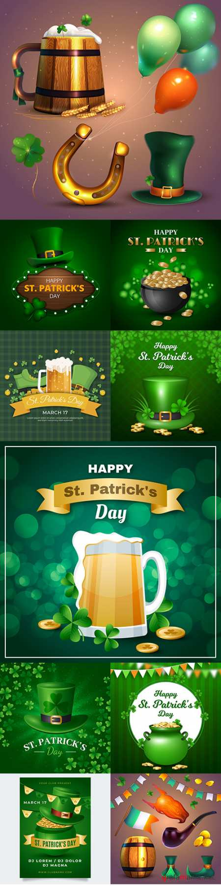 St. Patrick's Day party design vector illustrations 5