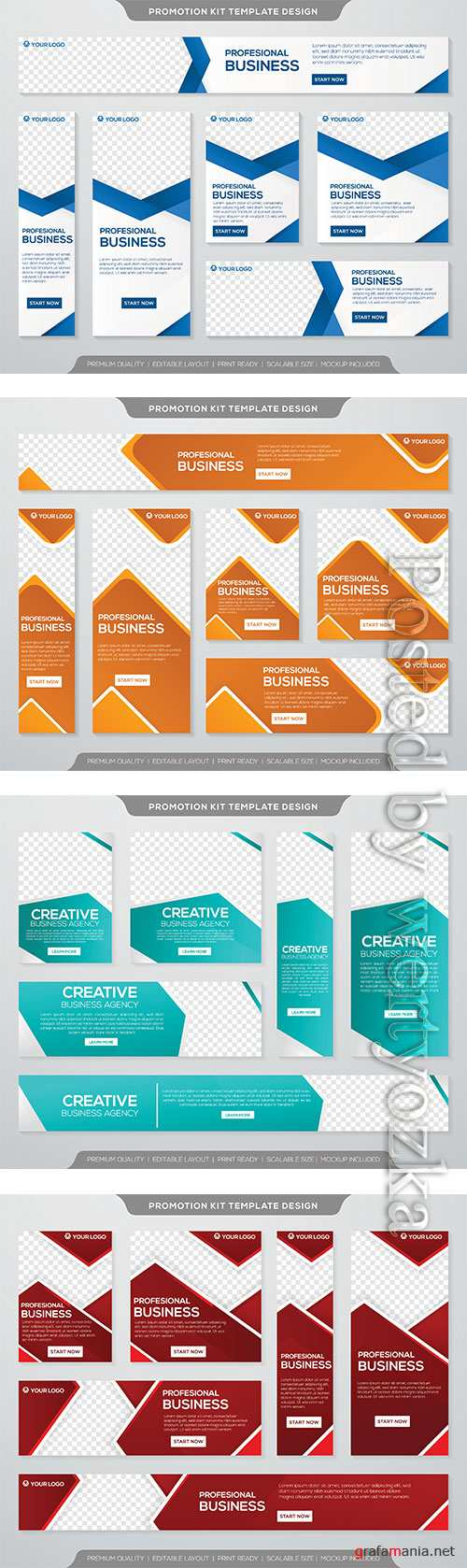 Business promotion kit template with simple layout