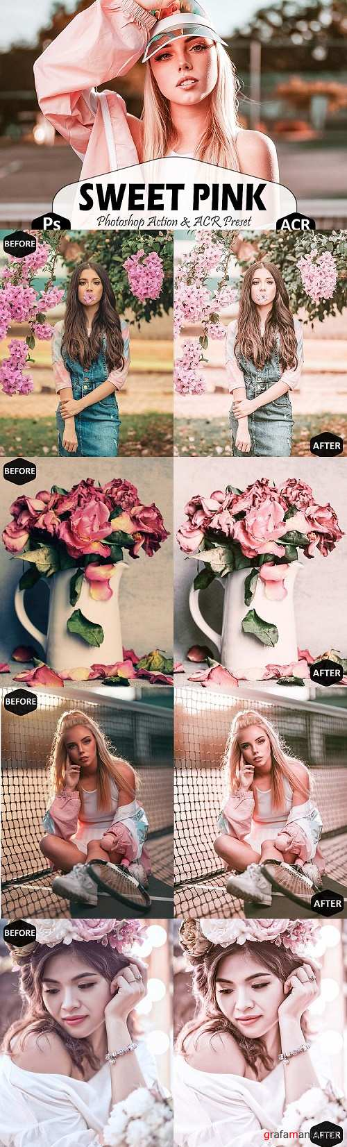Sweet Pink Photoshop Actions And ACR Presets, Bright modern - 431697