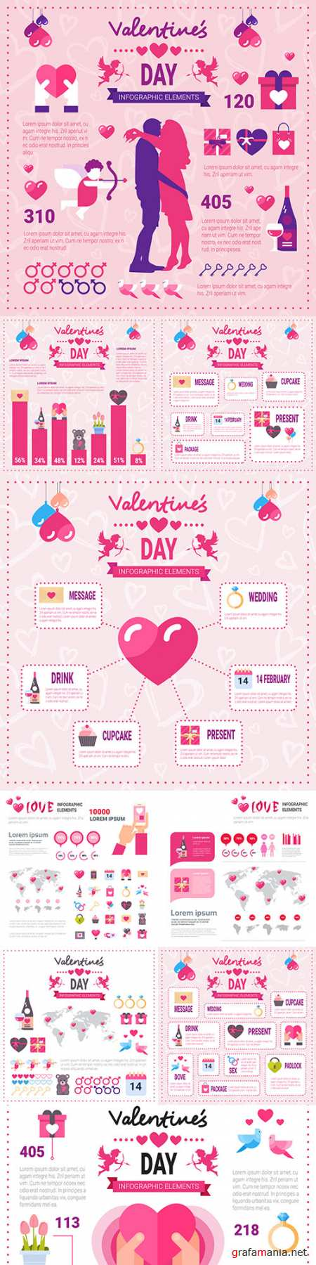 Valentine's Day infographics options elements