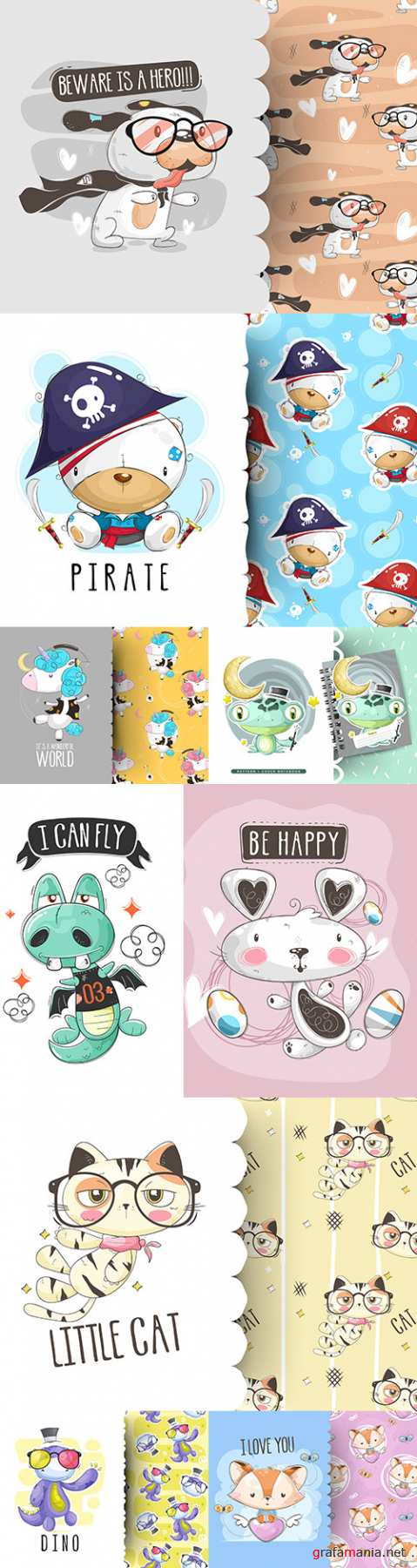Funny cartoon heroes and decorative pattern
