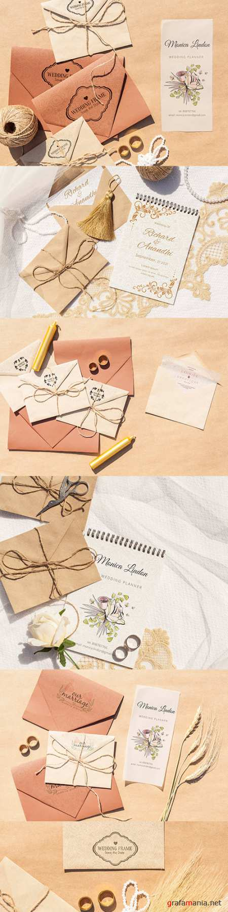 Vintage wedding invitations with brown paper envelopes