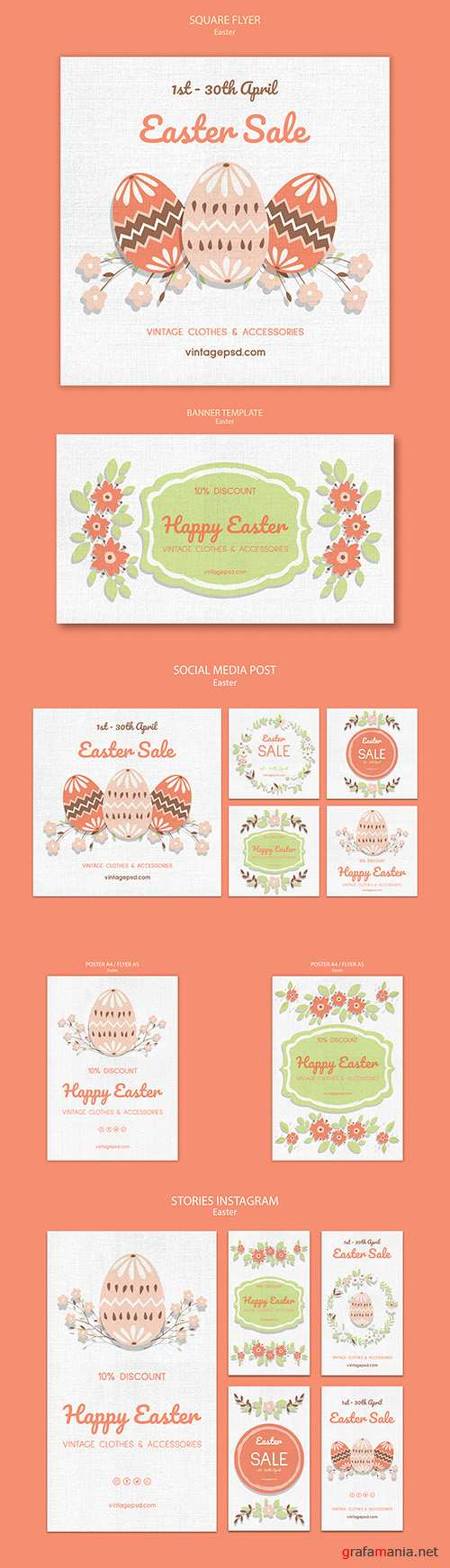 Vintage Easter template social media posts and baneer