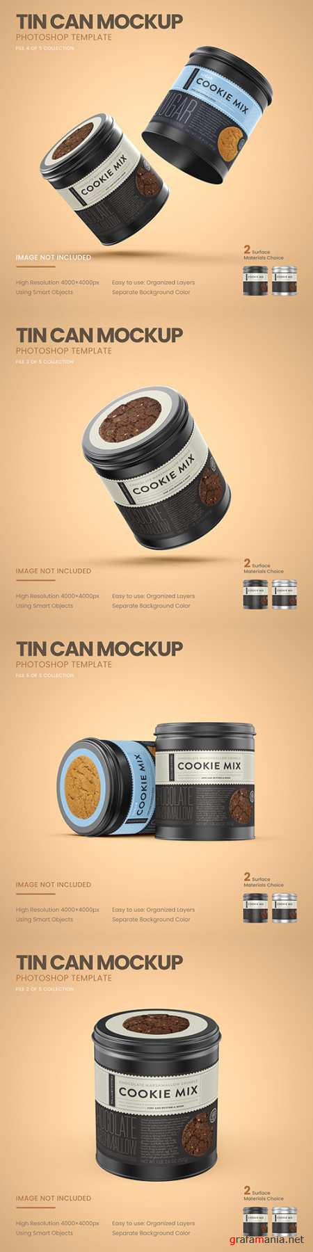 Small tin cans for cookies design Mockup
