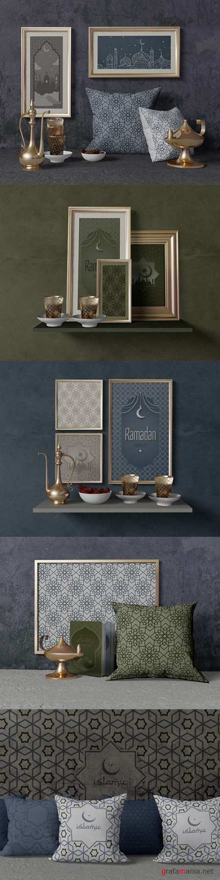 Ramadan composition with frame and cushions template