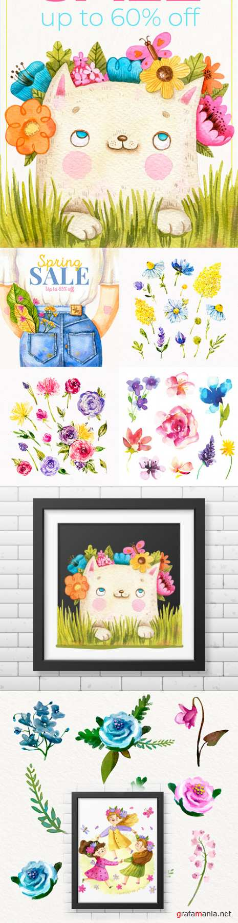 Watercolor flowers and elements for illustration design