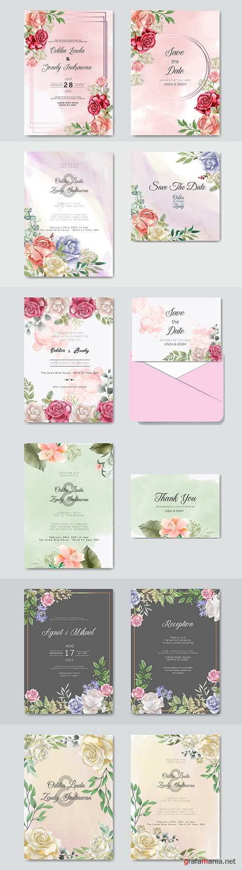 Wedding floral watercolor decorative invitations 14